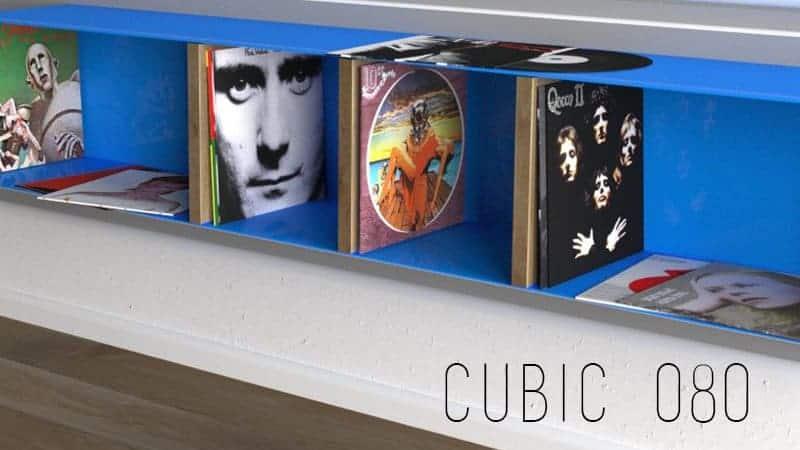 Design Metallmoebel Vinyl-Platten-Regal Sideboard Mehrzweck-Aufbewahrung aus Stahl Holz Eiche Stahlzart