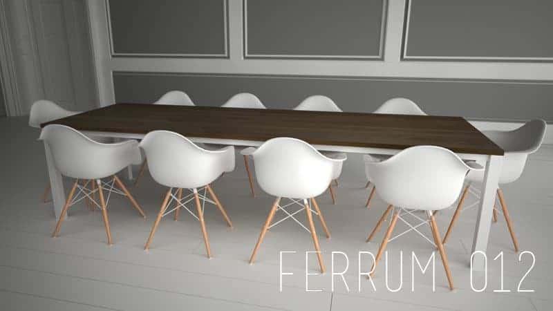 Design Metall Tisch aus Massiv-Holz Eiche Edel-Stahl Stahlzart timeless design