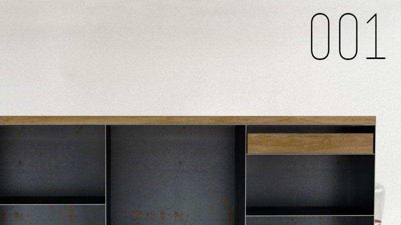 Design Stahlmöbel Sideboard Metallmöbel mit Schublade aus Stahl Holz Eiche Stahlzart