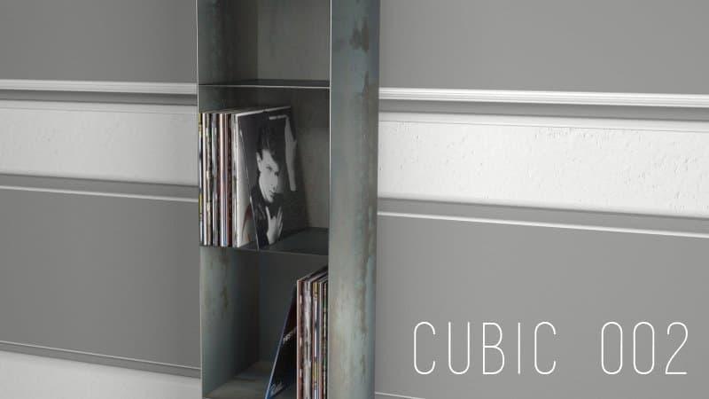 Design Metallmoebel Vinyl-Platten-Regal Aufbewahrung aus Stahl Stahlzart timeless design