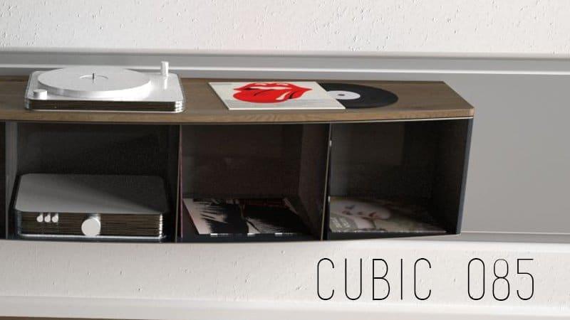 Design Metallmoebel Vinyl-Platten-Regal Sideboard aus Stahl Holz Eiche Stahlzart timeless design