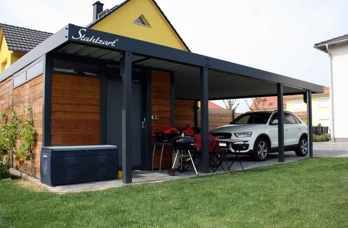 der metall carport mit abstellraum made for you stahlzart metall carports hersteller. Black Bedroom Furniture Sets. Home Design Ideas