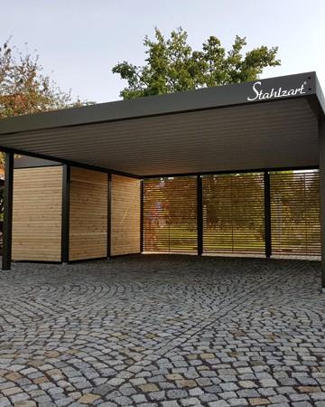 Doppelcarport mit Geräteraum Metall Holz Ulm · modern ...