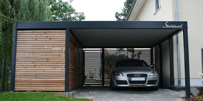 Carport Metall Doppelcarport Stahl Holz kaufen Abstellraum | Stahlzart