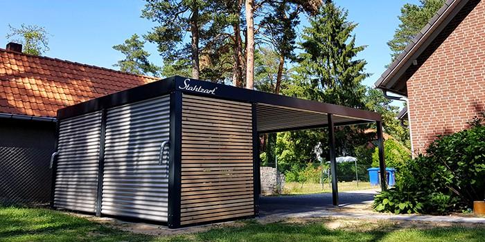 Carport Metall Doppelcarport Stahl Holz kaufen Abstellraum ...