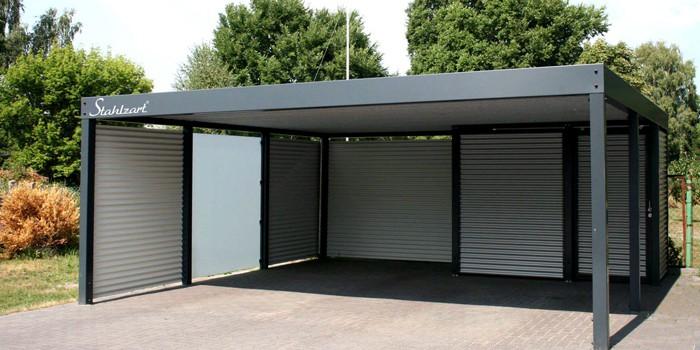 Doppelcarport Metall Holz Stahl Abstellraum Haus Anbau ...