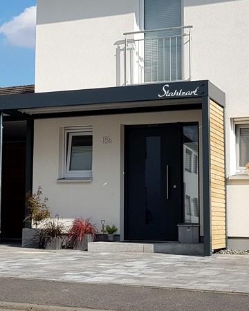 Modernes Vordach Anthrazit Von Stahlzart Haustur Uberdachung