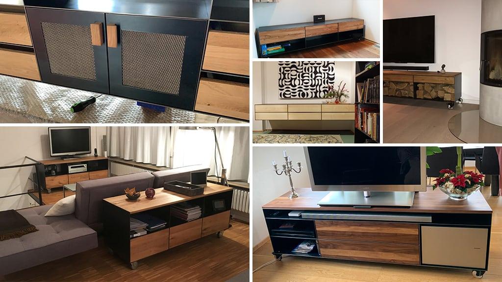 stahlzart-lowboard-tv-schwarz-grau-holz-eiche-metall-modern-design-designer-massivholz-wildeiche-weiss-stahl-mit-schubladen-auf-rollen-nussbaum-tablet