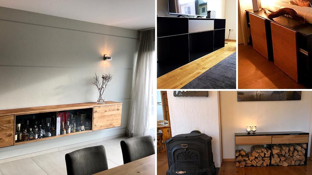 stahlzart-sideboard-kommode-barschrank-schwarz-grau-holz-eiche-metall-modern-design-designer-moebel-massivholz-wildeiche-nussbaum-mit-schubladen-haengend-glas-tablet
